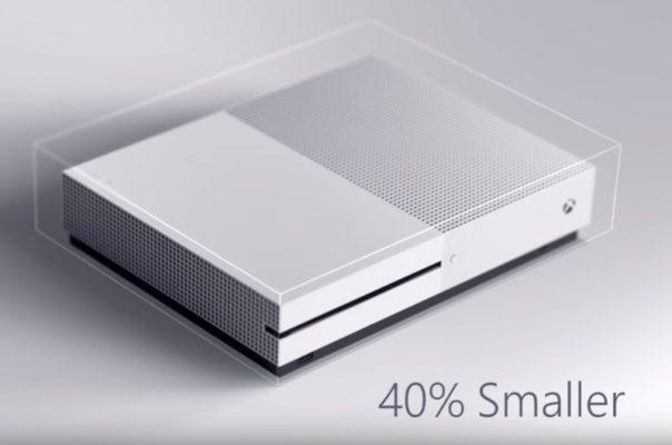 Imagen promocional Xbox One S actual con dimensiones más reales.
