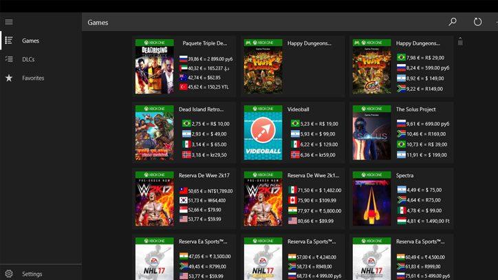 Consulta los precios de un juego en todos los bazares Xbox con la UWP PriXex