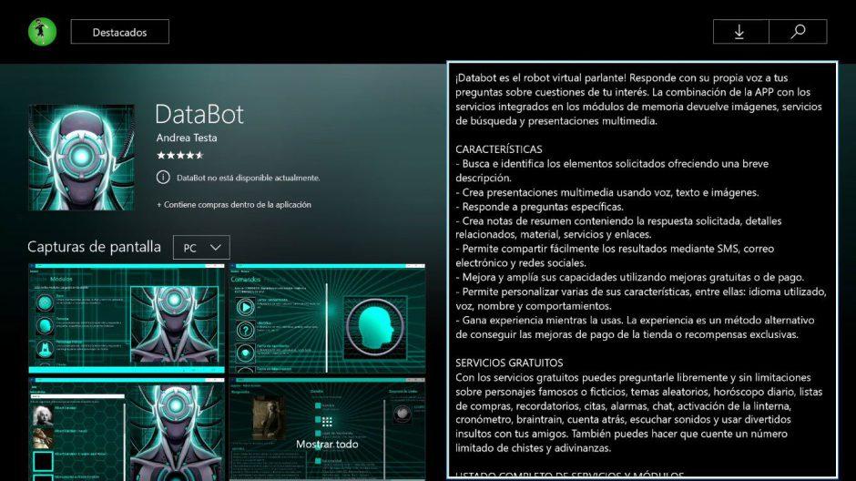 El asistente virtual Databot ya está disponible para Xbox One