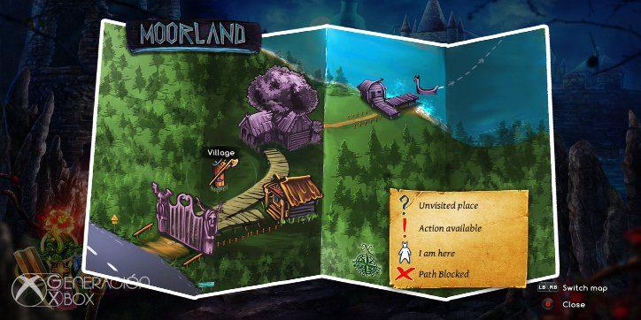 Con el mapa podrás hacer viajes rápidos de un punto a otro de Moorland.