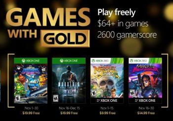 Ya disponibles los nuevos Juegos con Gold del mes de noviembre