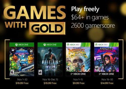 Anunciados los Juegos con Gold del mes de noviembre