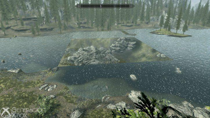 El agua tiene un buen acabado, pero aquí falta río... y juzgad los árboles del fondo.