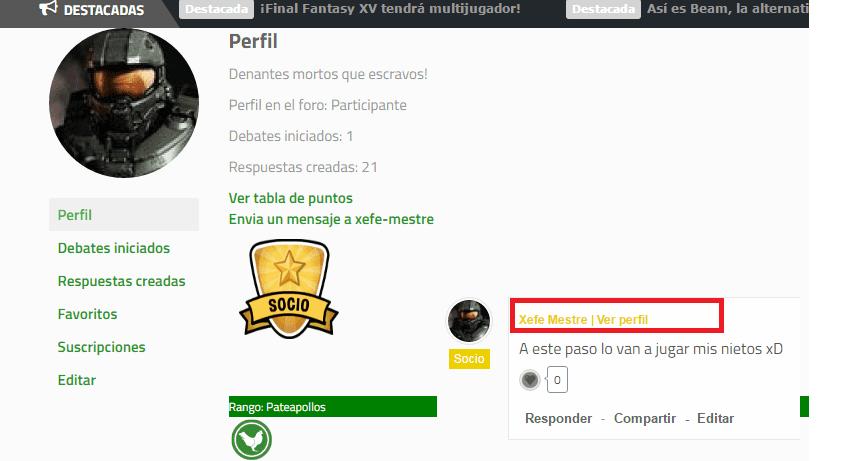 Así puedes acceder al perfil de un usuario en a web y así se muestran las insignias.