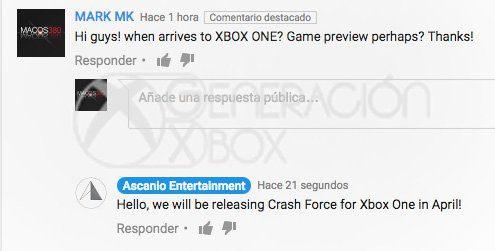 El shooter de naves Crash Force llegará a Xbox One en abril 1