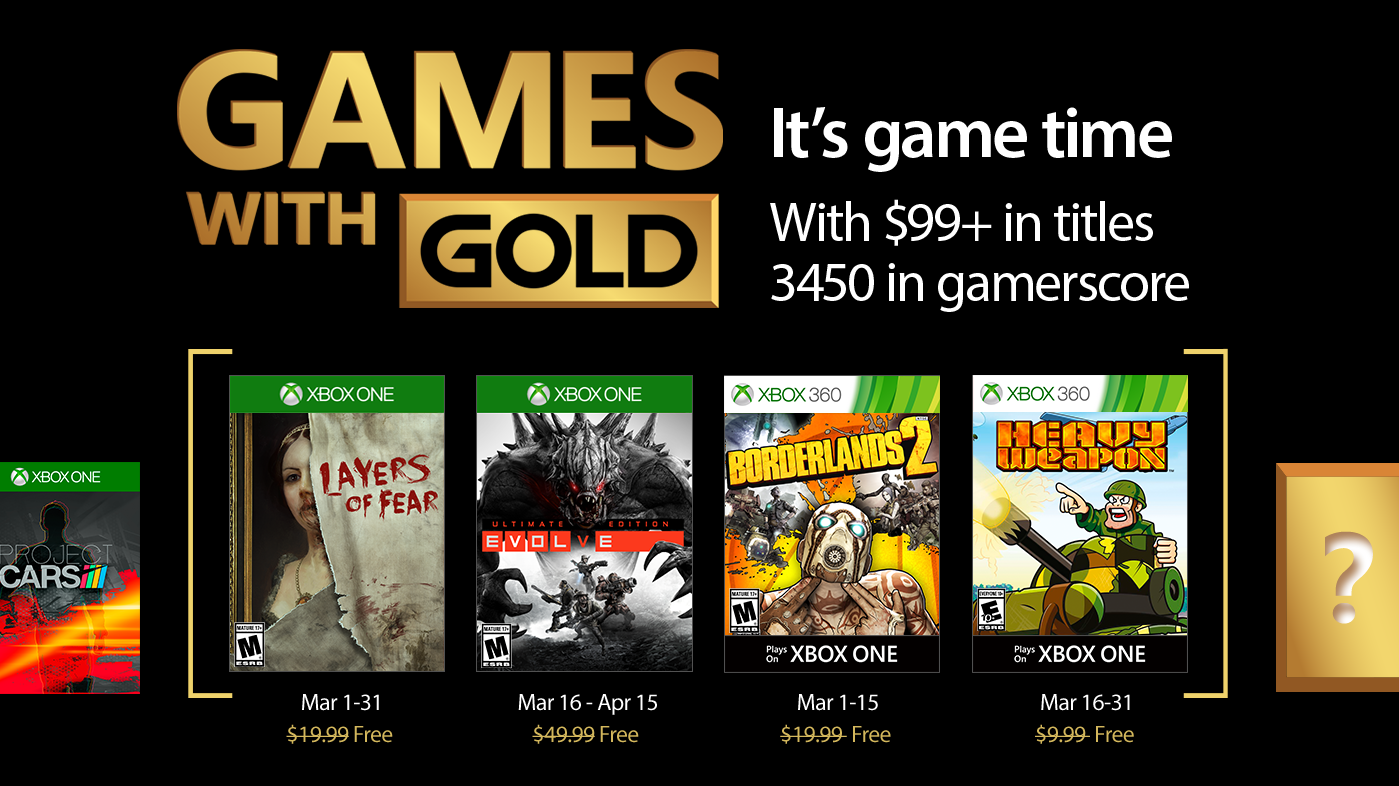 Estos son los Juegos con Gold del mes de marzo