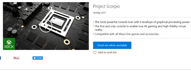Project Scorpio ya aparece en la Microsoft Store para su aviso de reserva 1
