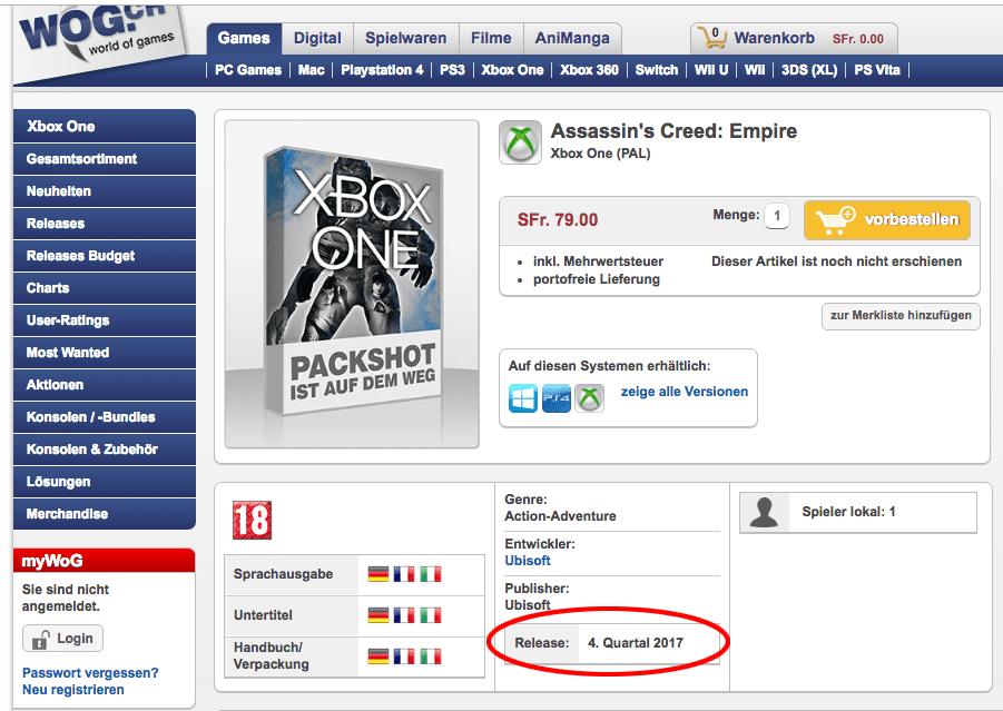 Se filtra la fecha de Assassin's Creed Empire - A través de la tienda online suiza WOG, se filtra que Octubre será la fecha del rumoreado Assassin's Creed Empire.