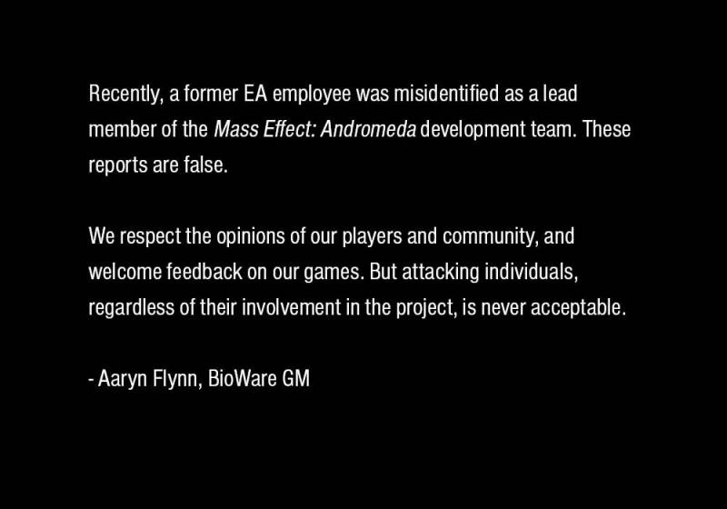 Bioware responde ante el acoso en Internet a una de sus trabajadoras - Internet y Twitter muestran su peor cara tras las críticas misóginas a una trabajadora de Electronic Arts, falsamente acusada de ser la responsable de las animaciones faciales de Andromeda.