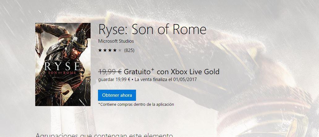 Ya disponible Ryse: Son Of Rome gratis para miembros Gold 1
