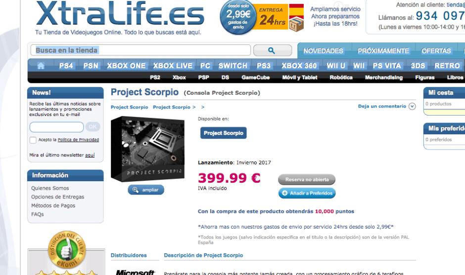 Project Scorpio aparece en la tienda de Xtralife a 399€