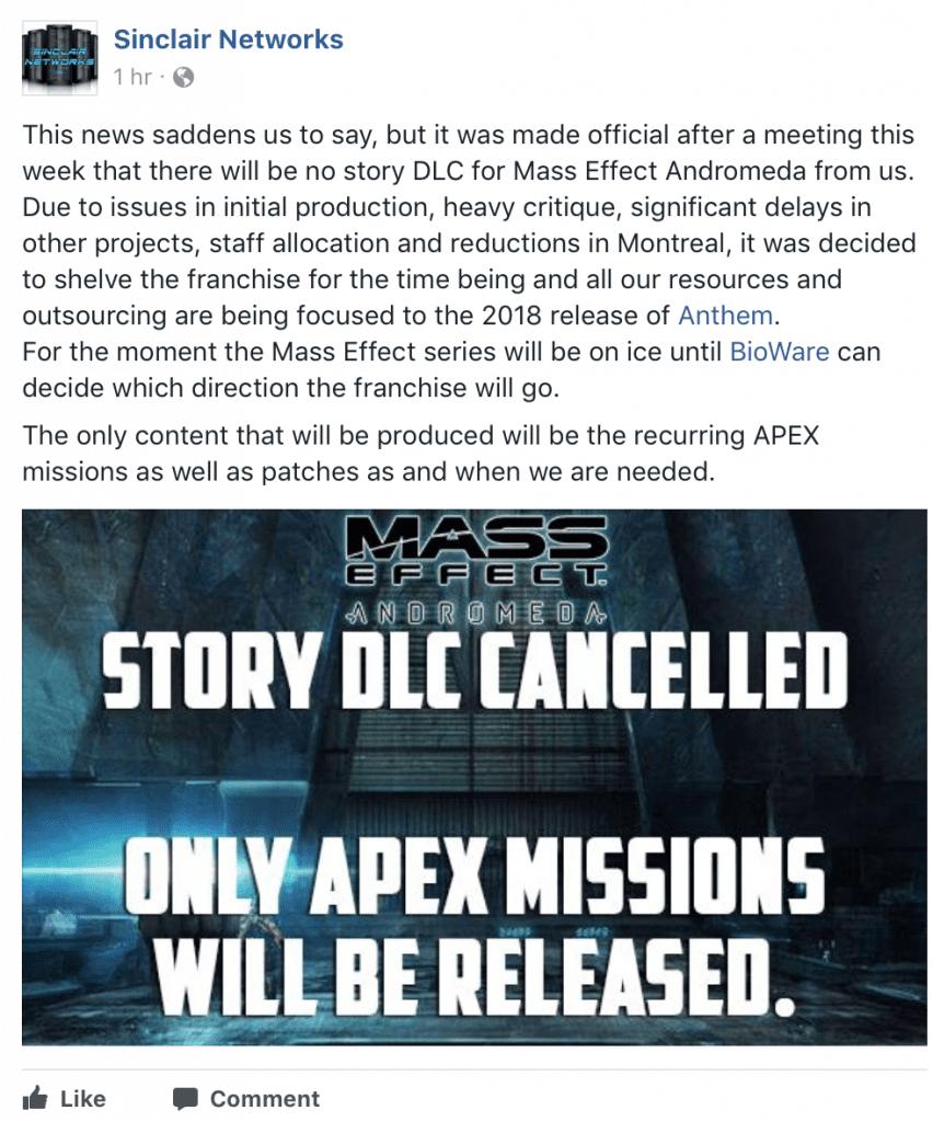 [Desmentido] Los DLC de historia de Mass Effect Andromeda habrían sido cancelados
