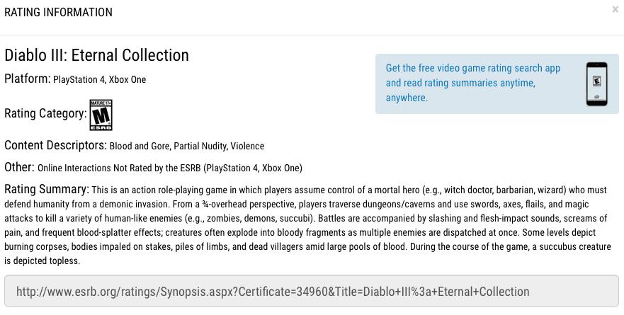 Diablo III: Eternal Collection aparece listado en el ESRB