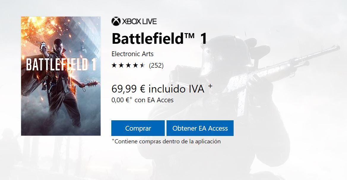 Battlefield 1 ya está disponible en el baúl EA Access