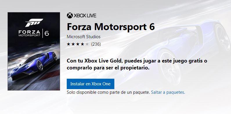 Forza Motorsport 6 podría ser gratuito durante este fin de semana