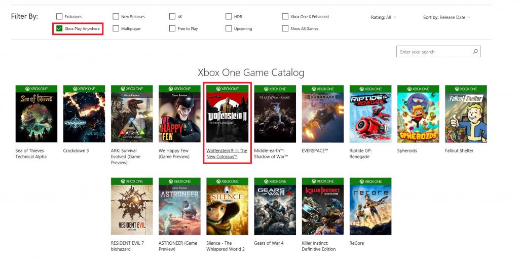 Wolfenstein II Xbox Play Anywhere