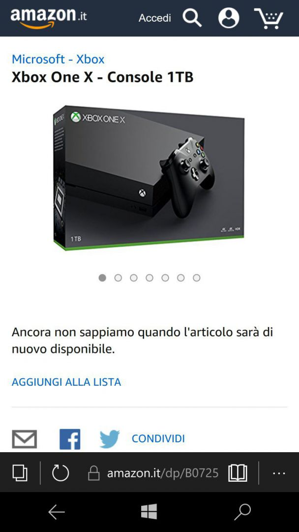 amazon italia abre las reservas de xbox one x y se agota en horas. Black Bedroom Furniture Sets. Home Design Ideas