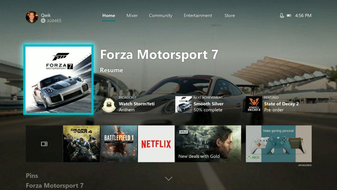 Interfaz de Xbox