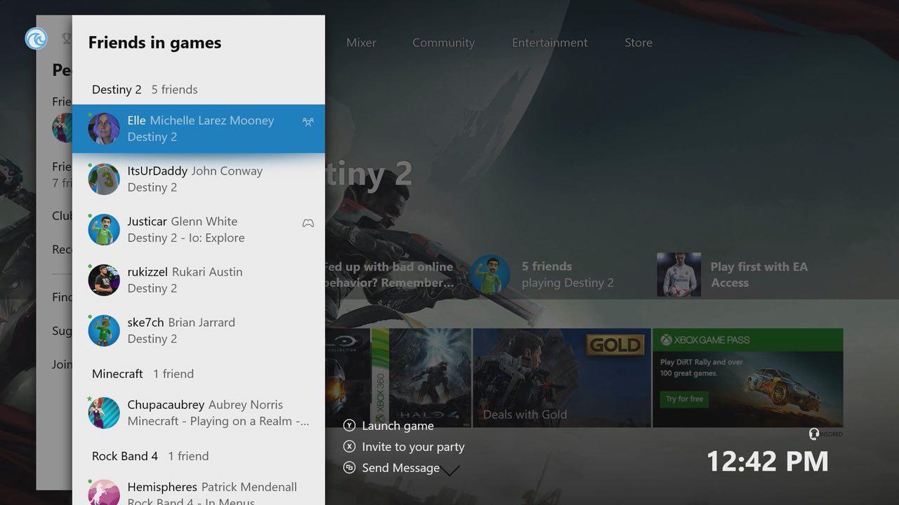 Con el nuevo dashboard de Xbox One podrás agrupar a los amigos por juegos