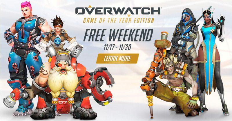Overwatch será gratis del 17 al 20 de noviembre con todos sus héroes