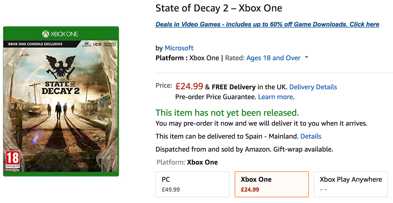 [ACTUALIZADA] State of Decay 2 aparece bajo reserva en Amazon y GAME UK por £24.99