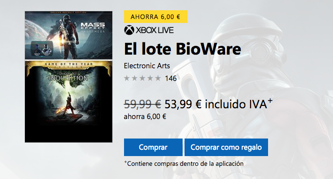 Mass Effect Andromeda y Dragon Age Inquisition, en un pack digital de Bioware con todos sus DLCs 1