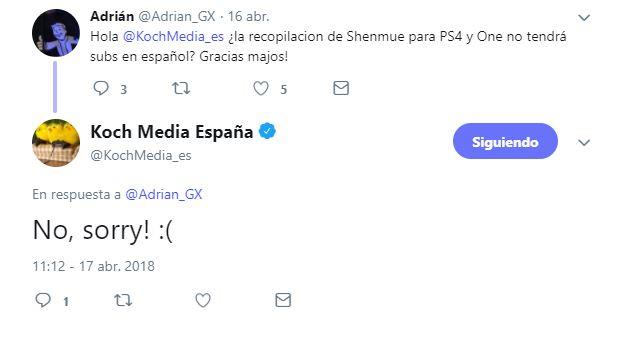Confirmado, el remaster de Shenmue 1 y 2 llegará sin traducir al castellano - Koch Media, distribuidora en España del juego, informa en twitter que no está previsto que el remaster de los dos primeros Shenmue lleguen en castellano.