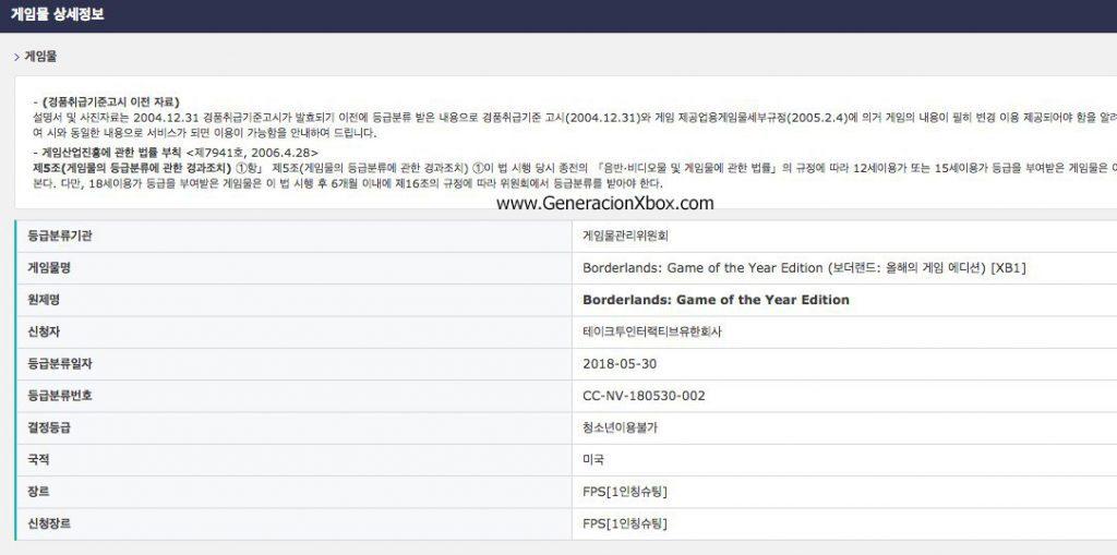Borderlands: Game Of The Year Edition clasificado en Corea 1