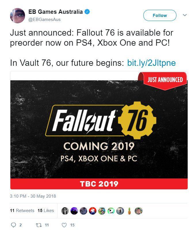 Fallout 76 se lanzaría en 2019 - Parece que Fallout 76 se lanzaría el próximo año, tal y como han confirmado por error algunos minoristas.