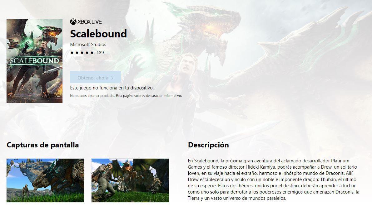 [Actualizada] La ficha de Scalebound aparece de nuevo en la Microsoft Store - Gracias a Reddit hemos podido conocer que la ficha de compra de Scalebound está activa nuevamente. Es posible que se trate de un error o una señal.