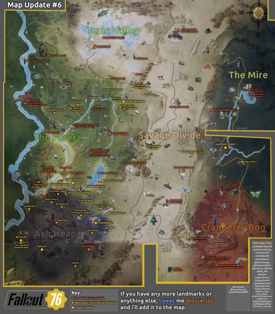 Así sería el mapa de Fallout 76 con lo visto hasta ahora