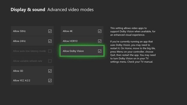 Dolby Vision actualización