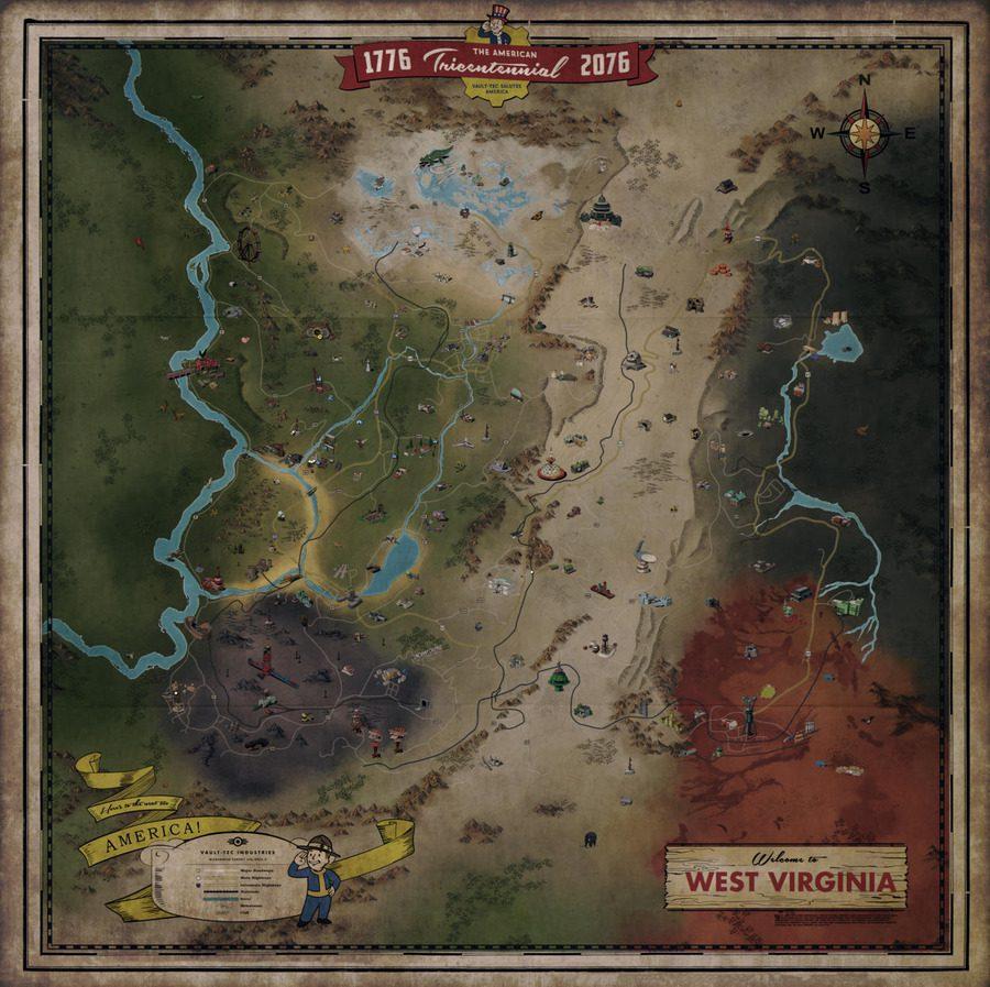 Así es el mapa de Fallout 76