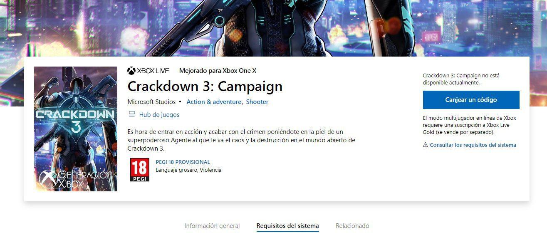 La campaña de Crackdown 3 se venderá por separado