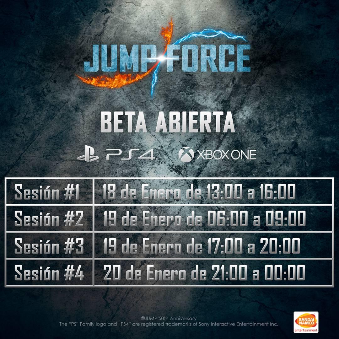 ¿Ganas de probar Jump Force? La beta abierta será el próximo fin de semana - Finalmente se confirma la filtración con las fechas para las sesiones de juego de la beta de Jump Force, el crossover de lucha con personajes anime.
