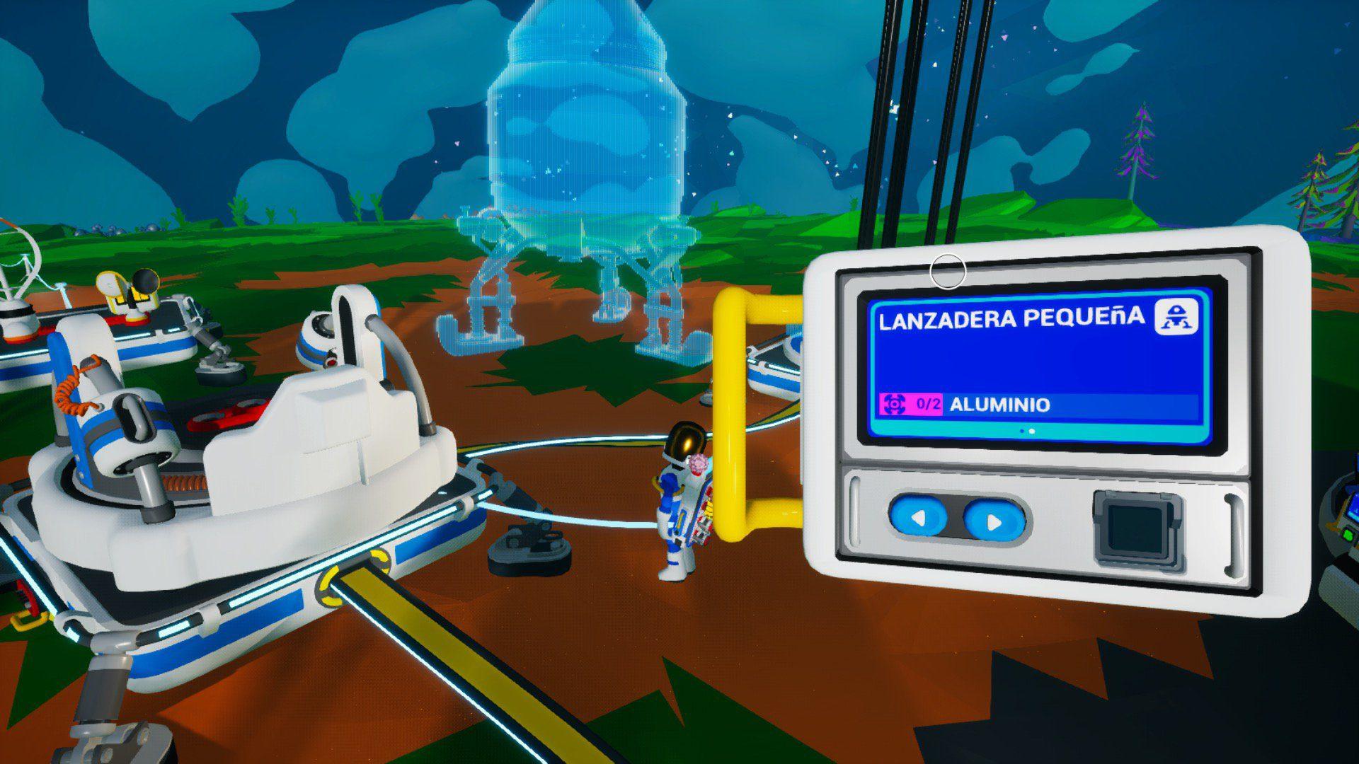 Impresora del cohete con una lanzadera en Astroneer