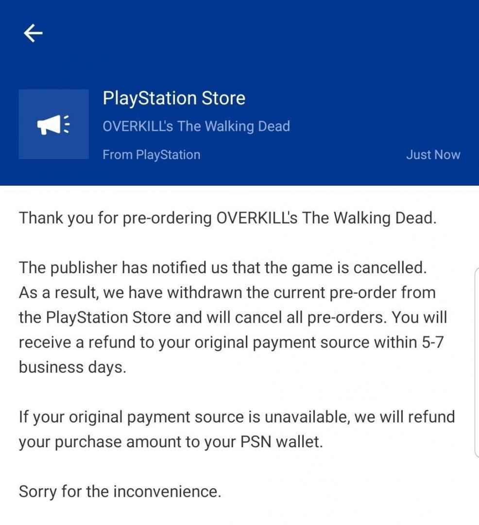 Correo de cancelación de Overkill's The Walking Dead desde la PlayStation Store