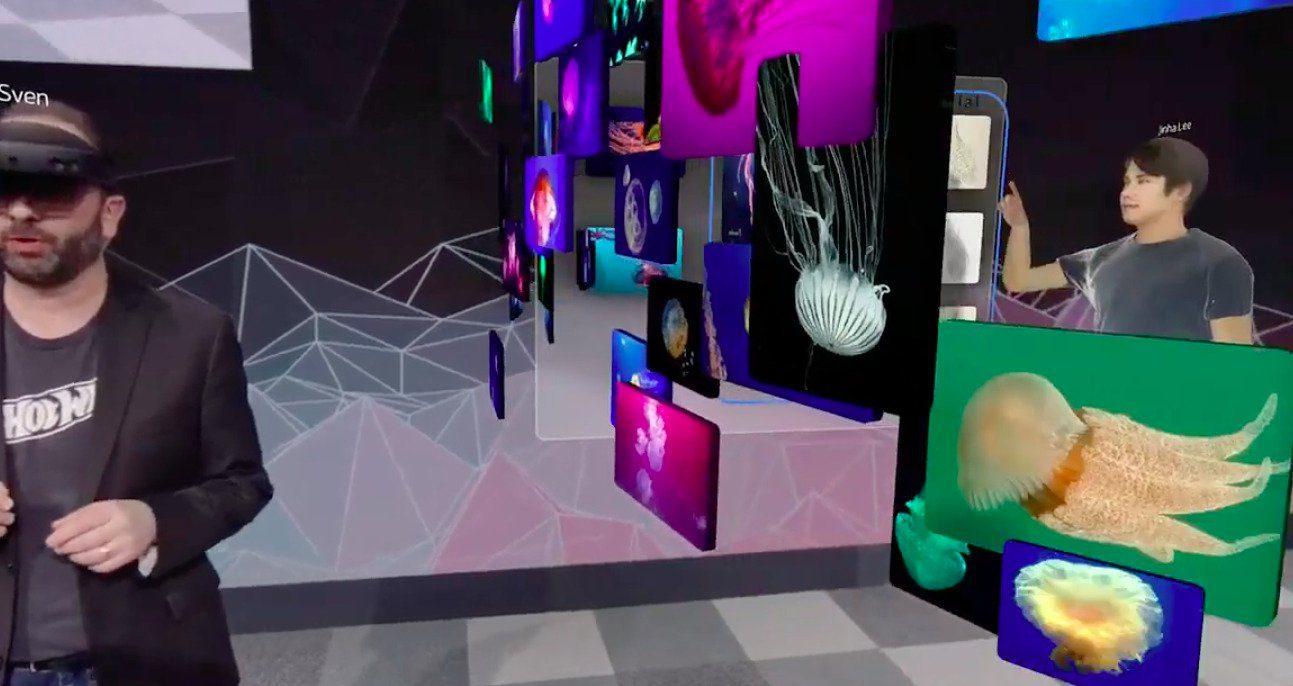 Videollamada de Spatial con entorno de trabajo propio e interacción de Hololens 2 con hologramas y videollamada