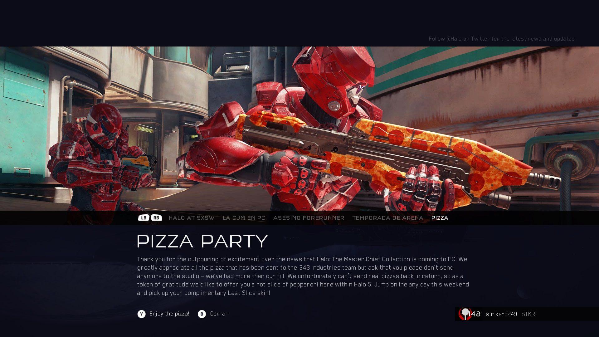343 Industries regala la skin de pizza en Halo 5 Guardians