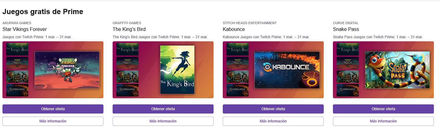 Twitch Prime con sus juegos de marzo