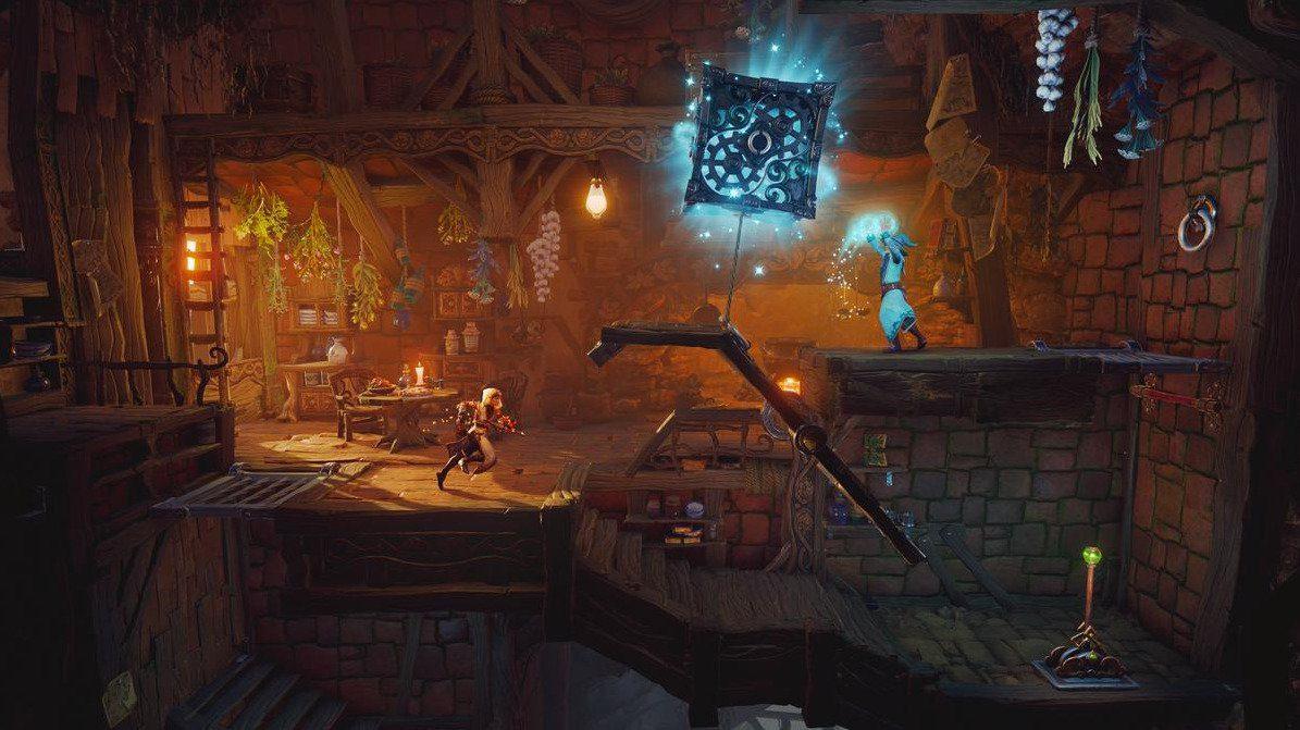 Personajes resolviendo un Puzzle en Trine 4
