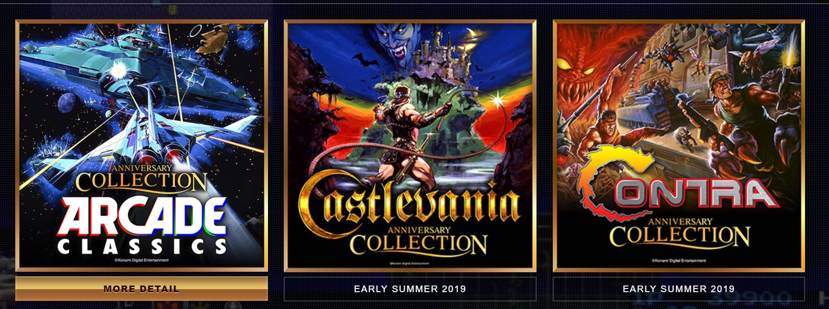 Konami Anniversary Collection, Arcade Classics, Castlevania Anniversary Collection, Contra Anniversary Collection