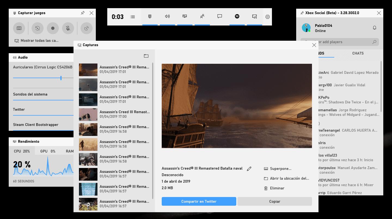 Capturas de pantalla desde la Barra de Juego de Windows 10