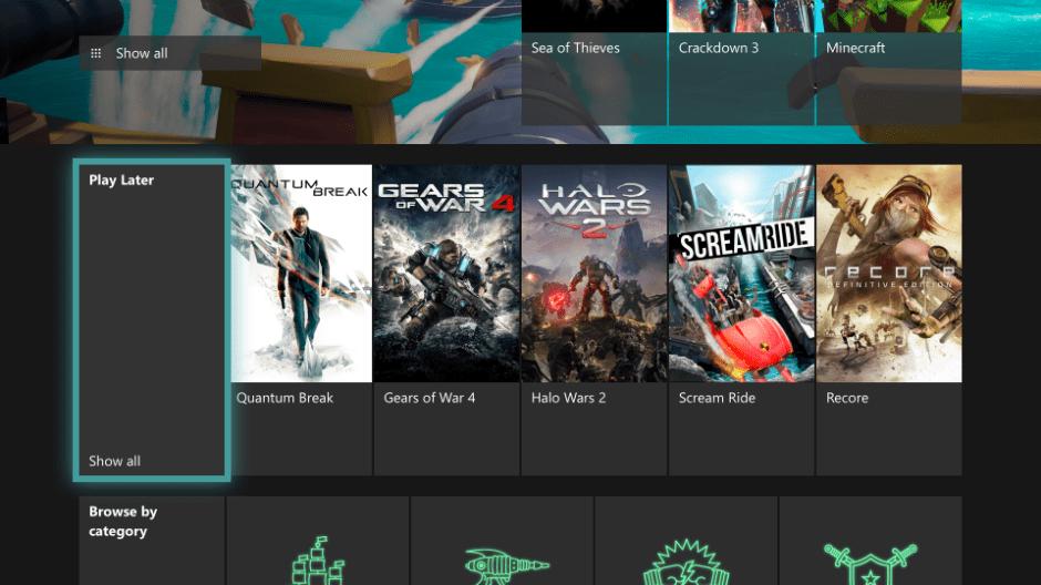 Opción Jugar más tarde de Xbox Game Pass