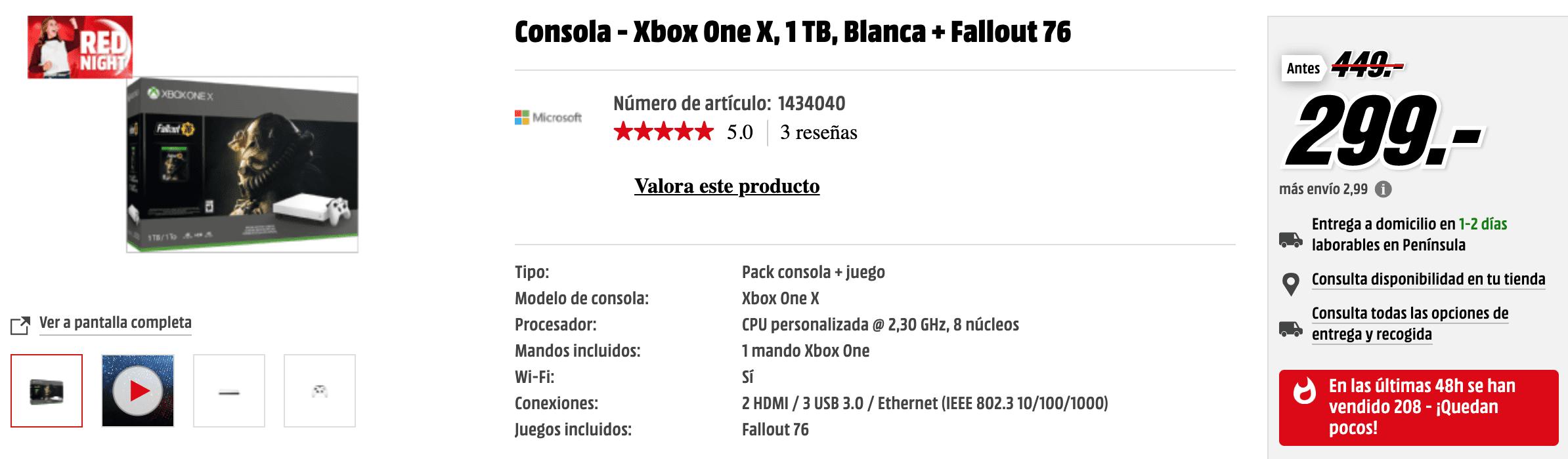 ¡Ofertón! Xbox One X con Fallout 76 por 299€ en Media Markt