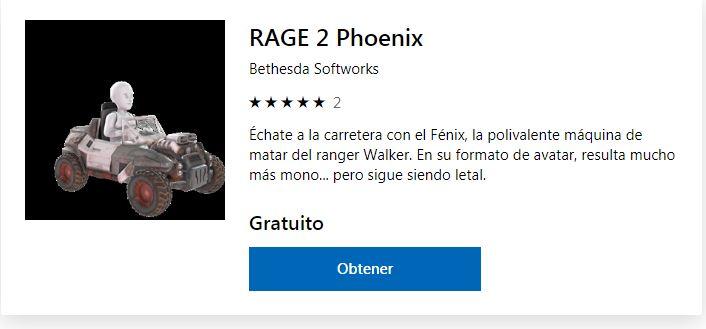 Descarga GRATIS para tu avatar el vehículo Fenix de RAGE 2