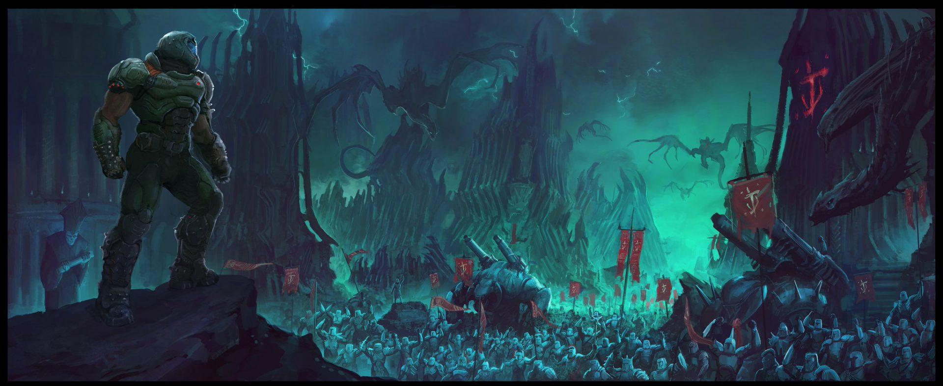 El ejército de los Centinelas de la noche aparecen en un nuevo arte con el DOOM Slayer