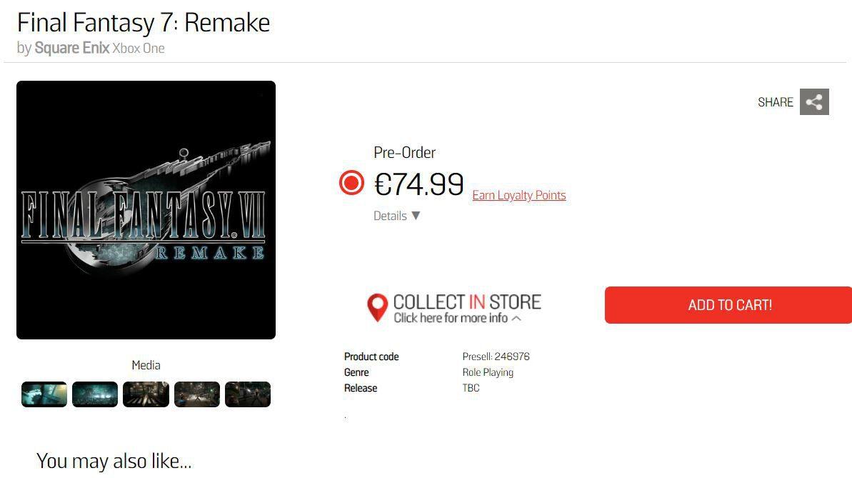 Gamestop lista Final Fantasy VII Remake en Xbox One