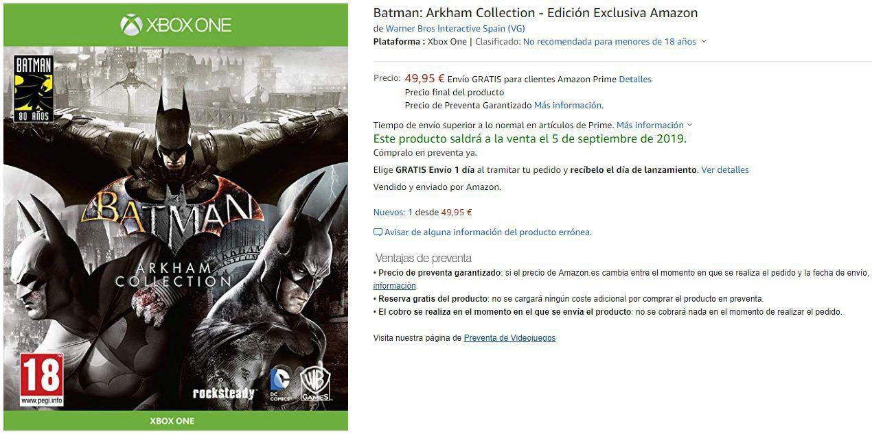 Batman: Arkham Collection contará con una edición física en Xbox One