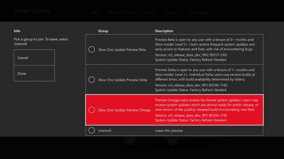 Requisitos para la actualización en el anillo Omega de Insider